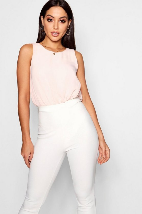 Womens Blush Chiffon Top Bodysuit