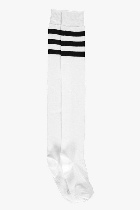 Womens White Stripe Top Knee High Socks