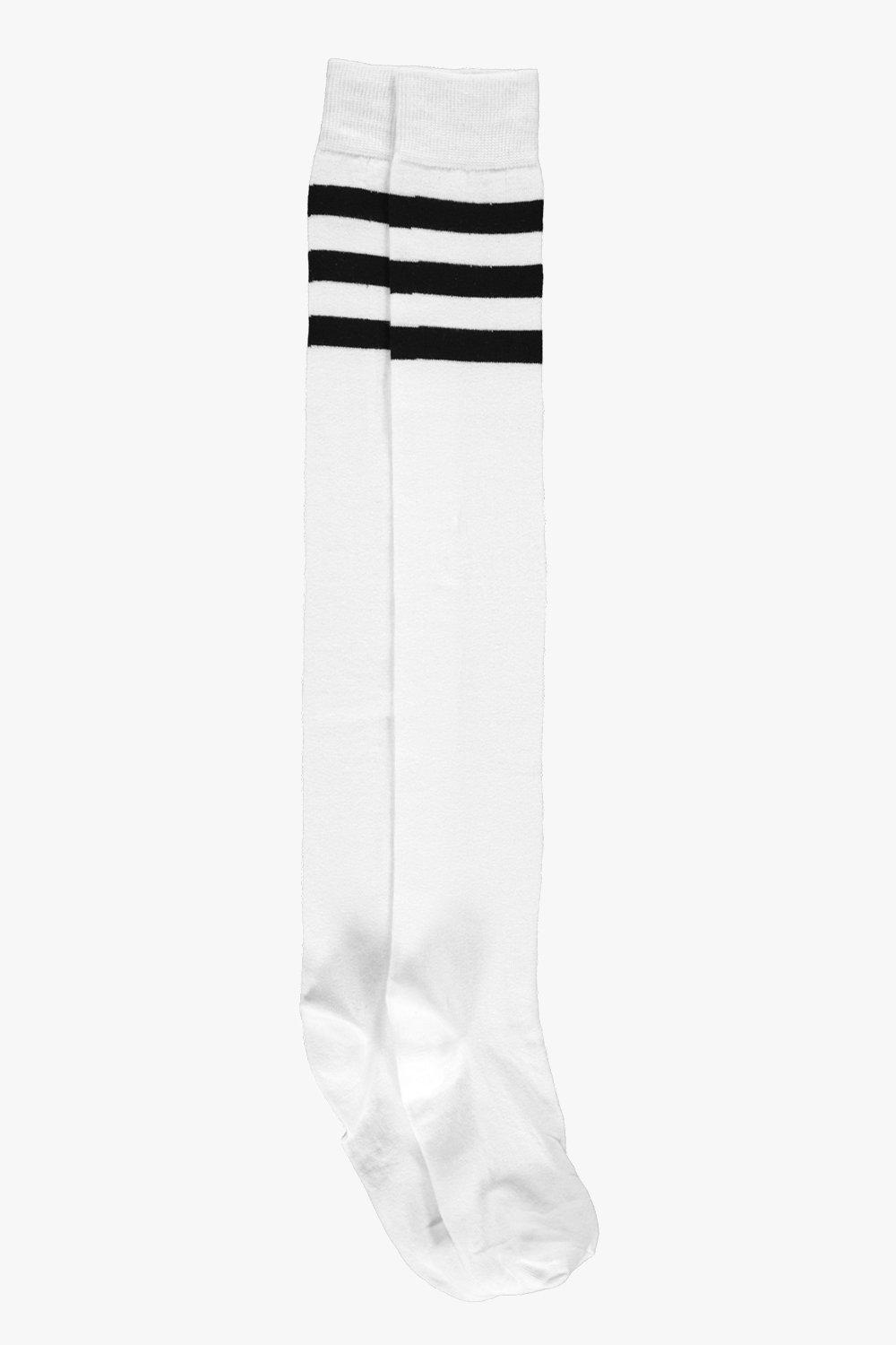 f1c886569 Womens White Stripe Top Knee High Socks. Hover to zoom