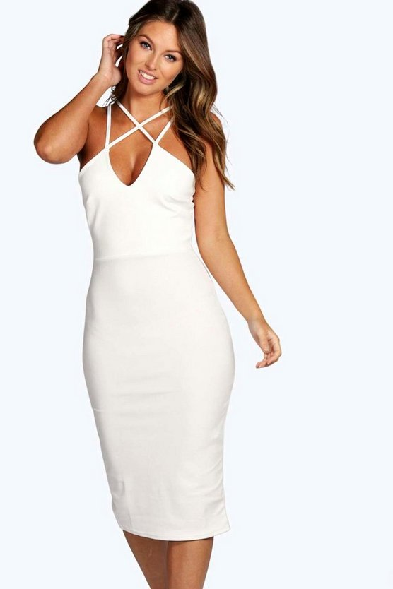 Strappy Detail Bodycon Midi Dress