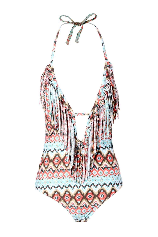 96c268d6b6 Aztec Print Fringed Swimsuit. Womens Multi Aztec Print Fringed Swimsuit.  Hover to zoom