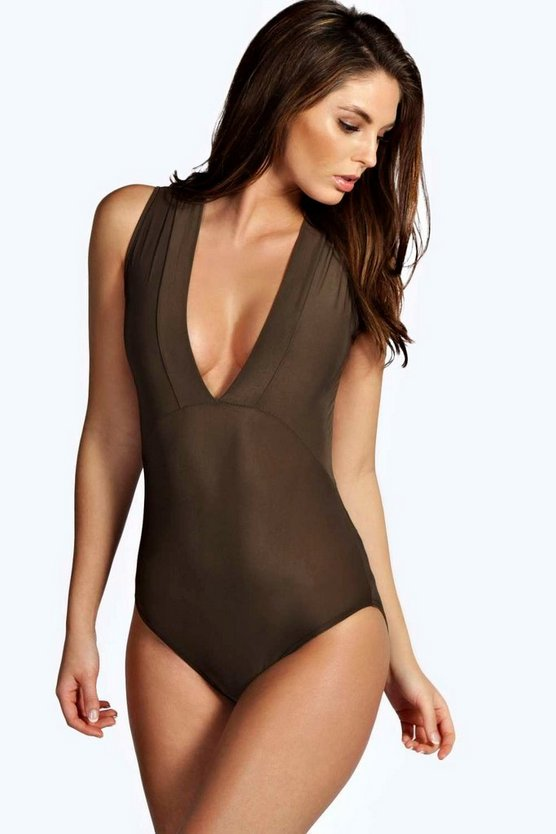 Womens Khaki Sleeveless Deep Plunge Neck Bodysuit