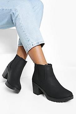 Chunky Cleated Heel Chelsea Boots