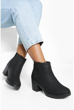 Womens Black Chunky Cleated Heel Chelsea Boots
