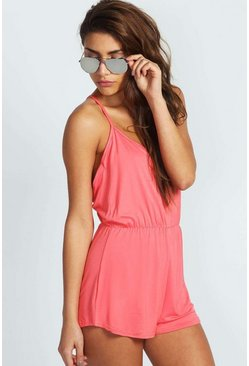 Womens Coral Basic Strappy Back Romper