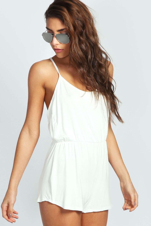 womens basic strappy back romper - white - 4