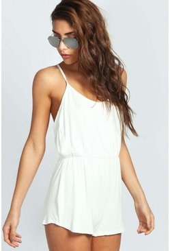 Womens White Basic Strappy Back Playsuit