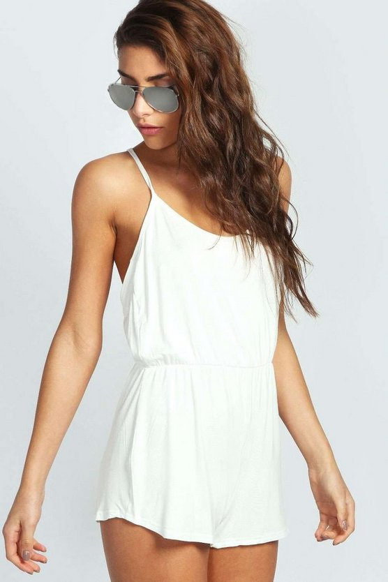 Draped Strappy Back Jersey Playsuit
