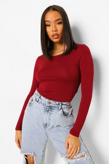 Womens Berry Basic Round Neck Long Sleeve Top
