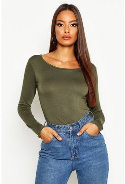 Womens Khaki Basic Round Neck Long Sleeve Top