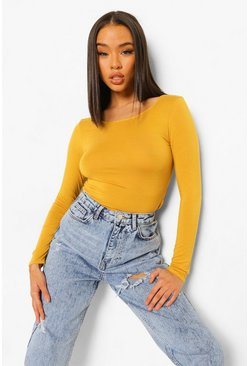 Mustard Basic Round Neck Long Sleeve Top