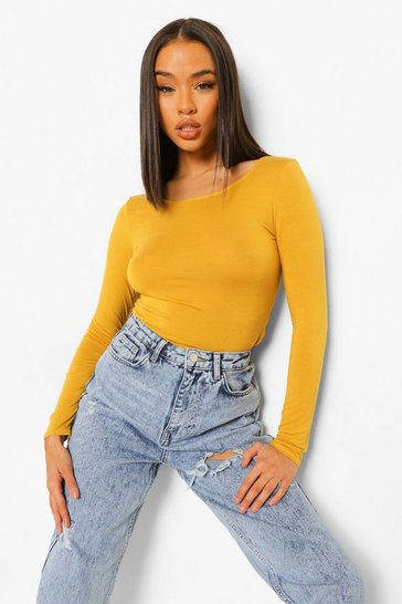 Womens Mustard Basic Round Neck Long Sleeve Top