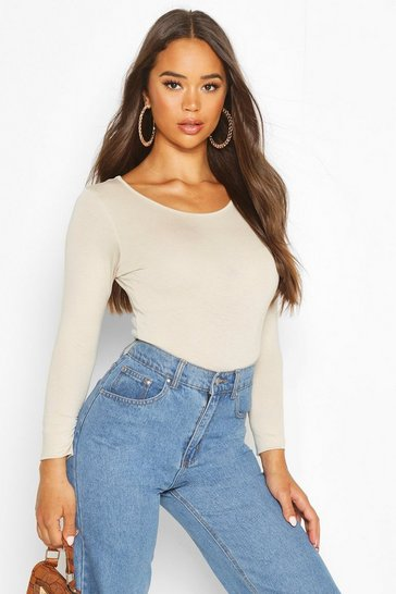 Stone Basic Round Neck Long Sleeve Top