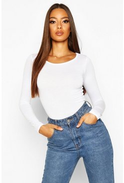 White Basic Round Neck Long Sleeve Top