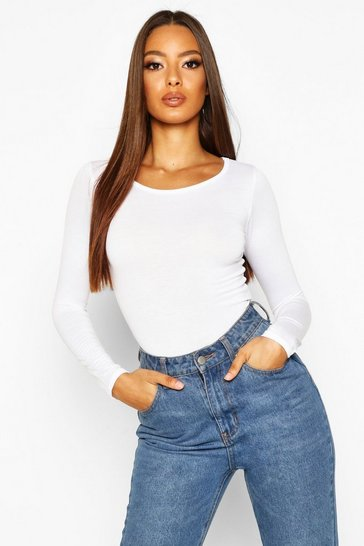 Womens White Basic Round Neck Long Sleeve Top