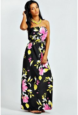 Womens Black Large Floral Maxi Dress