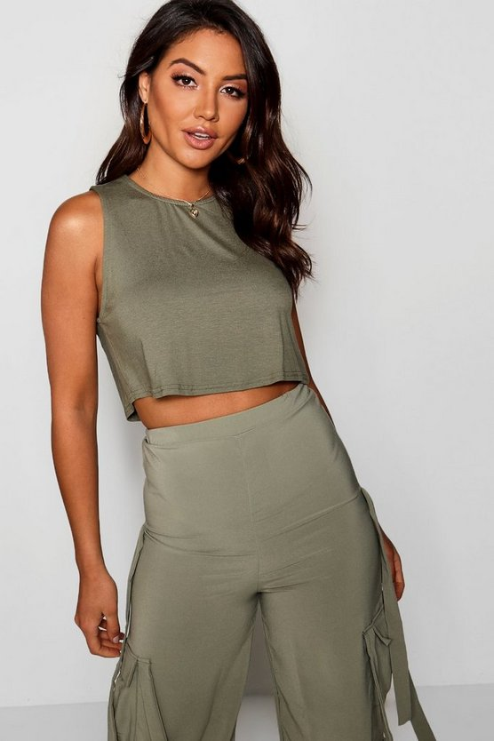 Womens Khaki Basic Crop Drop Arm Vest