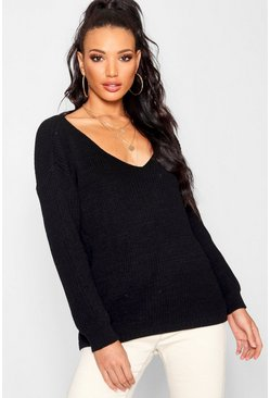 Black Oversized V Neck Jumper