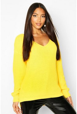 Womens Bright yellow Oversized V Neck Jumper