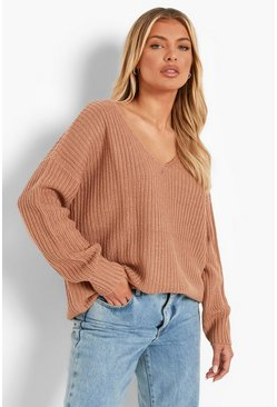 Camel Oversized V Neck Jumper