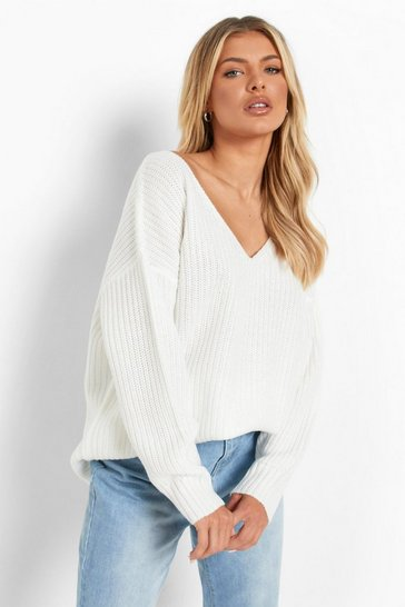 Cream Oversized V Neck Jumper