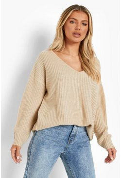Womens Stone Oversized V Neck Sweater