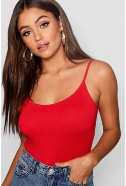 Womens Red Basic Strappy Vest