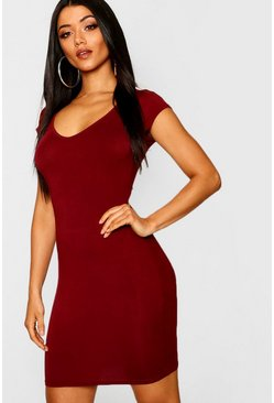 Womens Berry Sweetheart Neck Jersey Bodycon Dress