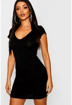 Womens Black Sweetheart Neck Jersey Bodycon Dress