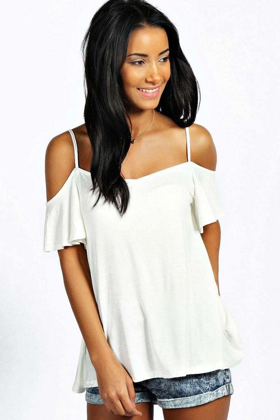 Frill Cold Shoulder Swing Top