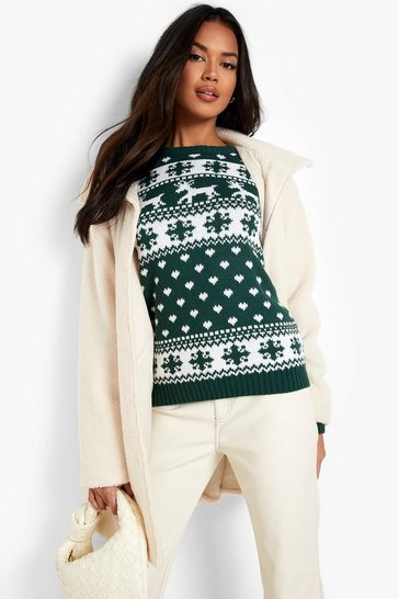 Womens Bottle Reindeer & Snowflake Christmas Jumper