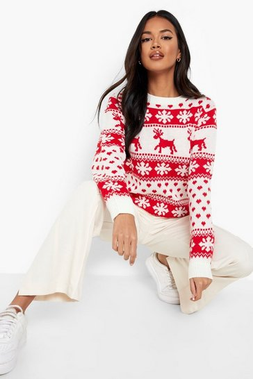 Womens Cream Reindeer & Snowflake Christmas Jumper