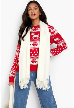 Womens Red Reindeer & Snowflake Christmas Jumper
