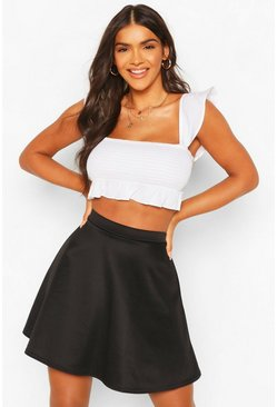 Womens Black Basic Fit And Flare Skater Skirt