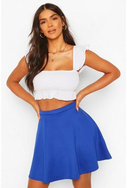 Womens Cobalt Basic Fit And Flare Skater Skirt