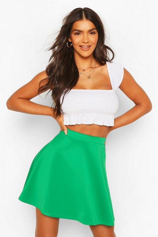 Womens Emerald Basic Fit And Flare Skater Skirt