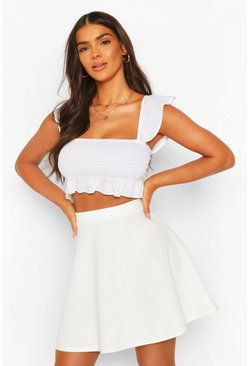 Womens Ivory Basic Fit And Flare Skater Skirt