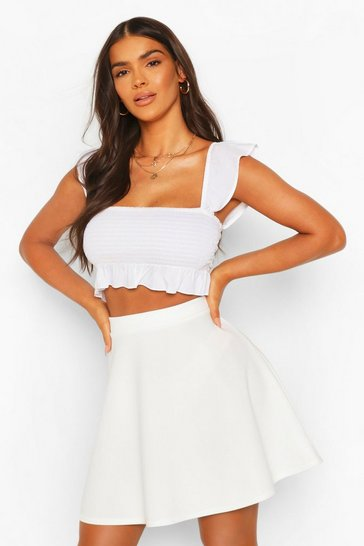 Ivory Basic Fit And Flare Skater Skirt