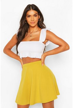 Womens Lime Basic Fit And Flare Skater Skirt