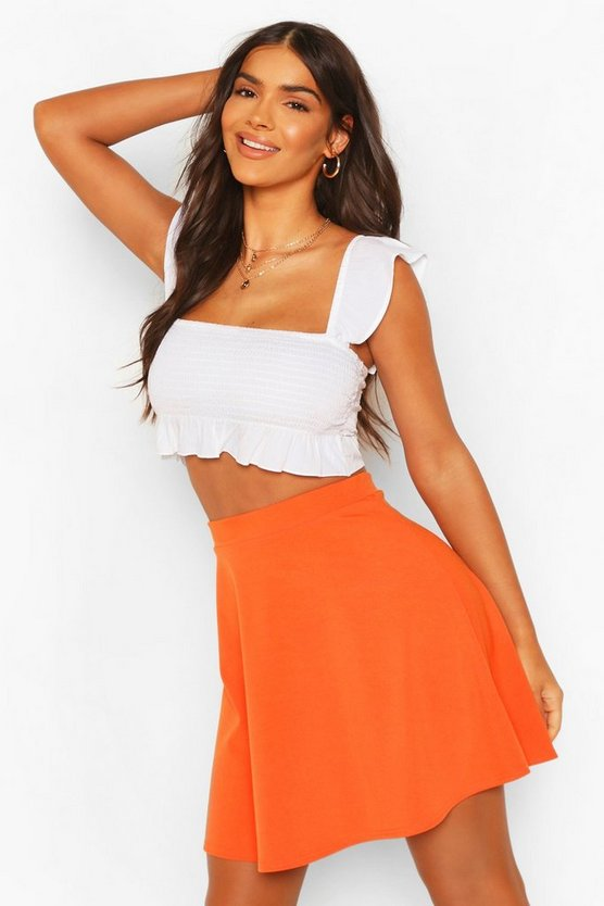 Womens Orange Basic Fit And Flare Skater Skirt