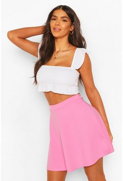 Womens Pink Basic Fit And Flare Skater Skirt