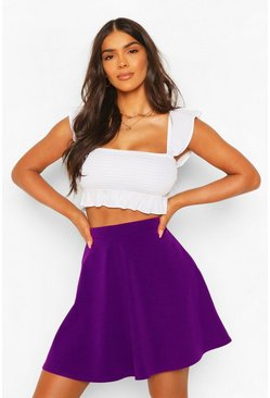 Purple Basic Fit And Flare Skater Skirt
