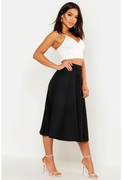 Womens Black Basic Plain Full Circle Midi Skirt