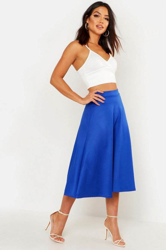 Basic Plain Full Circle Midi Skirt