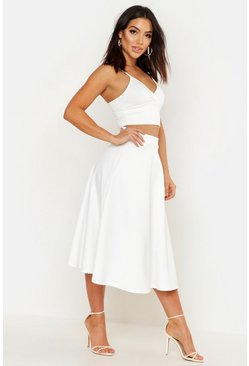 Ivory Basic Plain Full Circle Midi Skirt