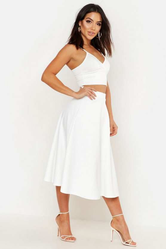 Womens Ivory Basic Plain Full Circle Midi Skirt