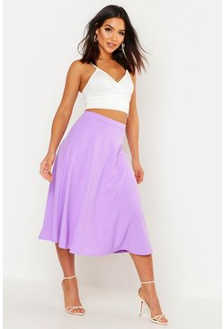 Lilac Basic Plain Full Circle Midi Skirt