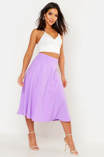 Womens Lilac Basic Plain Full Circle Midi Skirt