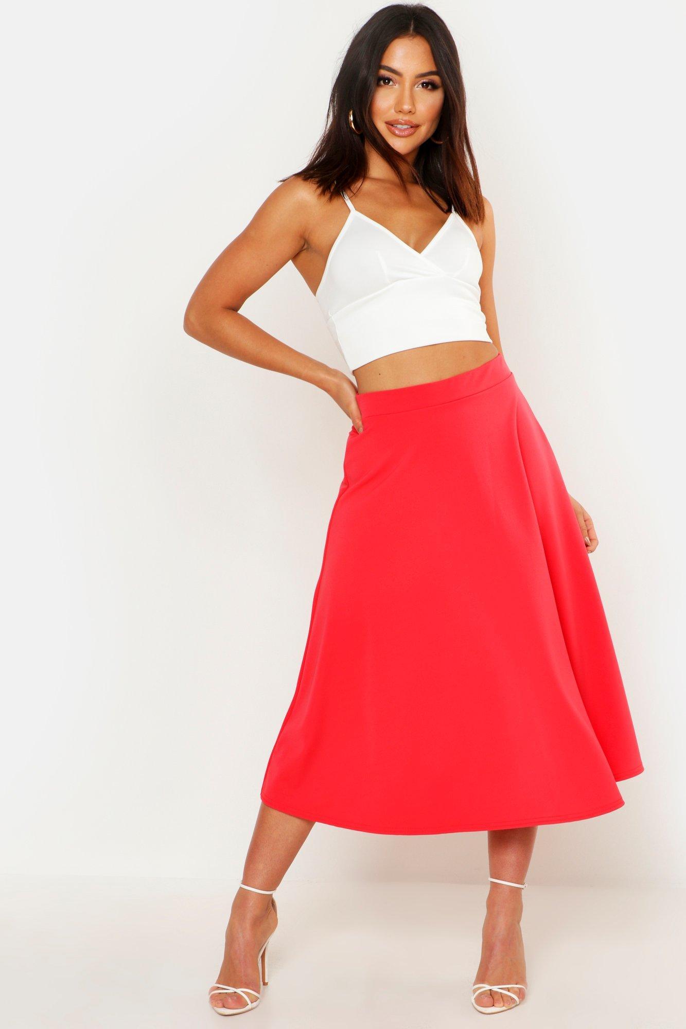 1950s Swing Skirt, Poodle Skirt, Pencil Skirts Womens Basic Plain Full Circle Midi Skirt - Pink - 12 $15.40 AT vintagedancer.com