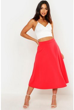 Womens Lipstick Basic Plain Full Circle Midi Skirt